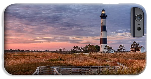 Lighthouse Pyrography iPhone Cases - Zigzag Walkway to Bodie Light iPhone Case by Dan Waters