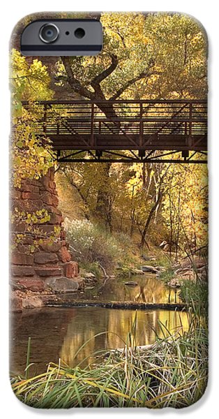 Fall Foliage iPhone Cases - Zion Bridge iPhone Case by Adam Romanowicz
