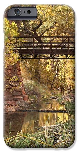 Creek iPhone Cases - Zion Bridge iPhone Case by Adam Romanowicz