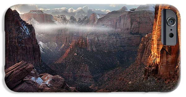 Winter Storm iPhone Cases - Zion Canyon Grandeur iPhone Case by Leland D Howard