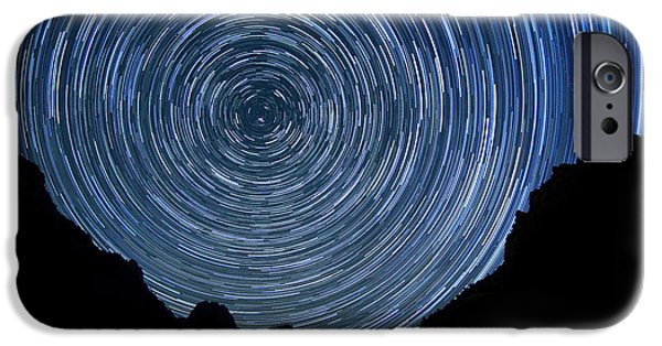 Constellations Pyrography iPhone Cases - Zion Long Exposure Star Trail Image iPhone Case by Katrina Brown