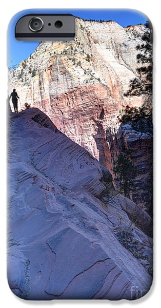 Ledge iPhone Cases - Zion National Park Hiker Climbs Hidden Canyon Trail iPhone Case by Gary Whitton