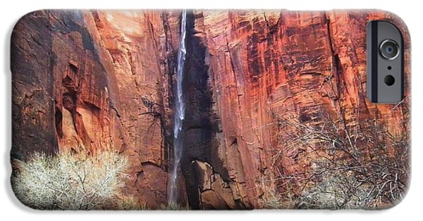 Wintertime iPhone Cases - Zion National Park Waterfall iPhone Case by Scott Cameron