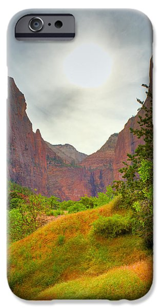 Zion Park iPhone Cases - Zion sunset iPhone Case by Alexey Stiop