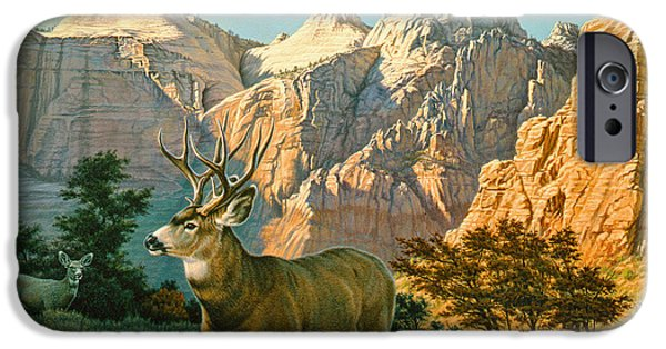 National Park Paintings iPhone Cases - ZionCountry Muleys iPhone Case by Paul Krapf
