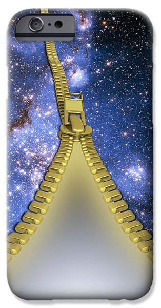 Animation iPhone Cases - Zippered Universe iPhone Case by Mike Agliolo
