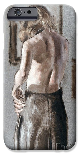 Dressing Room Paintings iPhone Cases - Zipping Up iPhone Case by Richard Hauser