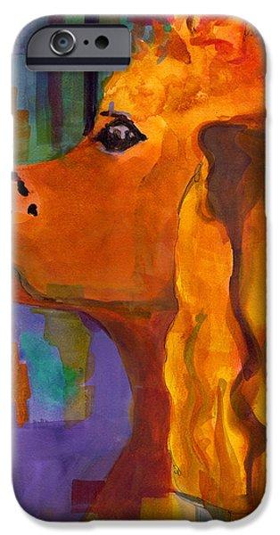 Dog Abstract Art iPhone Cases - Zippy Dog Art iPhone Case by Blenda Studio