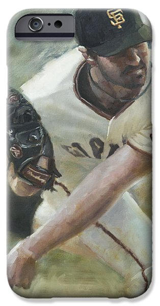 Baseball Art Paintings iPhone Cases - Zito Delivery iPhone Case by Darren Kerr