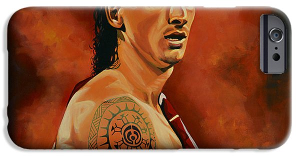 Sports Paintings iPhone Cases - Zlatan Ibrahimovic iPhone Case by Paul Meijering