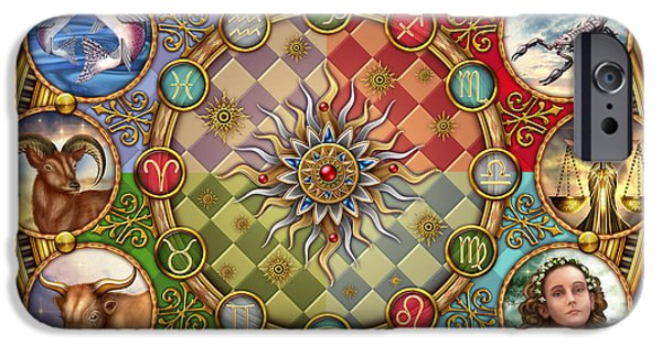 Gypsy Digital iPhone Cases - Zodiac Mandala iPhone Case by Ciro Marchetti