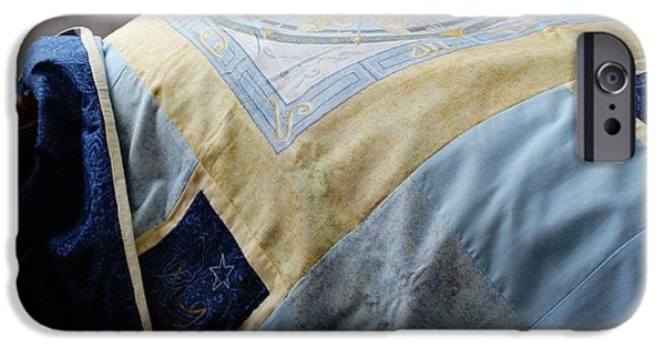Quilt Blue Blocks iPhone Cases - Zodiac Patchwork Quilt iPhone Case by Barbara Griffin