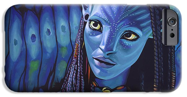 Science Paintings iPhone Cases - Zoe Saldana in Avatar iPhone Case by Paul  Meijering