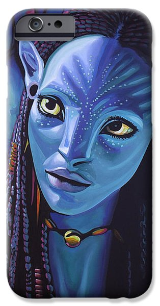 Michelle iPhone Cases - Zoe Saldana in Avatar iPhone Case by Paul Meijering