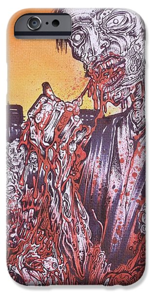 Samhane iPhone Cases - Zombie Blood Sunset iPhone Case by Sam Hane