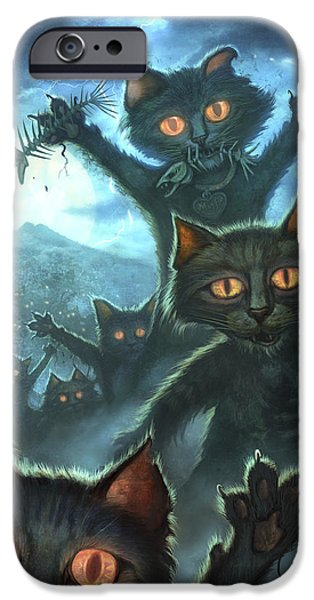 Glowing iPhone Cases - Zombie Cats iPhone Case by Jeff Haynie