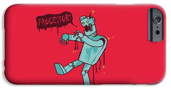 Nerd iPhone Cases - Zombie Robot iPhone Case by Budi Satria Kwan