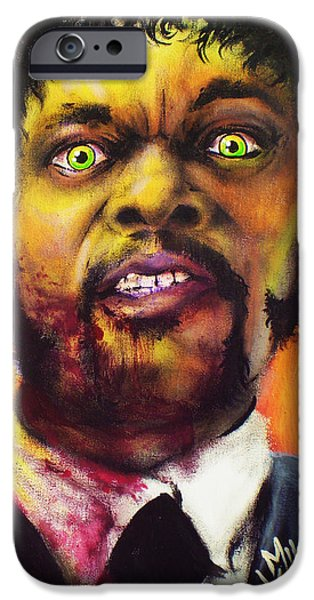 Reservoir Dogs iPhone Cases - Zombie Samuel Jackson iPhone Case by Mike Vanderhoof