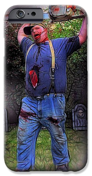 Dawn Of The Dead iPhone Cases - Zombie With Chainsaw  iPhone Case by Jon Volden