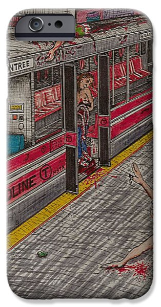 Zombies on the Red Line iPhone Case by Richie Montgomery