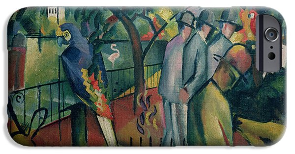 Zoo iPhone Cases - Zoological Garden I, 1912 Oil On Canvas iPhone Case by August Macke