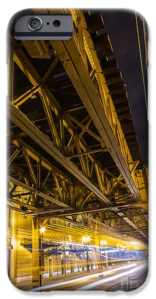 City Scape iPhone Cases - Zooming under L iPhone Case by Andrew Slater