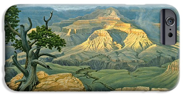Grand Canyon iPhone Cases - Zoroaster Temple from Yaki Point iPhone Case by Paul Krapf