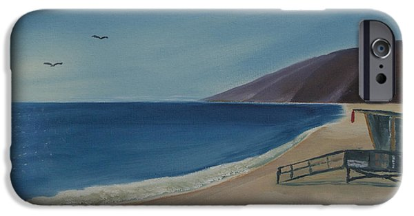 Malibu Paintings iPhone Cases - Zuma Lifeguard Tower iPhone Case by Ian Donley