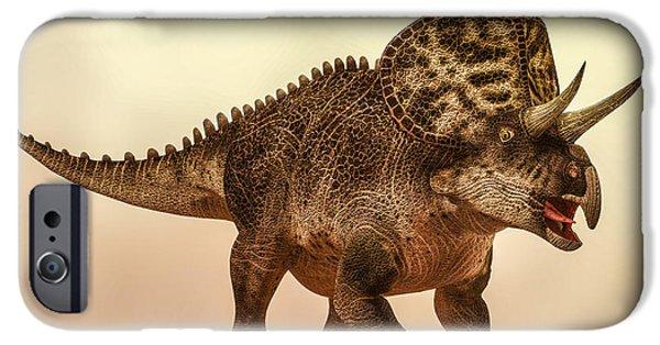 Bob Orsillo Digital Art iPhone Cases - Zuniceratops Dinosaur iPhone Case by Bob Orsillo