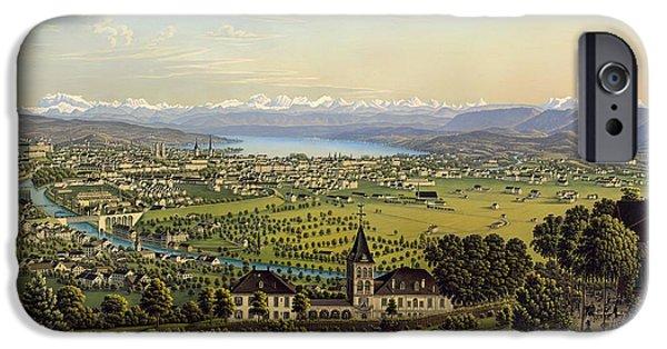 Switzerland Paintings iPhone Cases - Zurich 1884 iPhone Case by Heinrich Siegfried