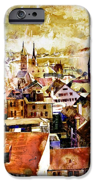 Switzerland Paintings iPhone Cases - Zurich Skyline iPhone Case by Ryan Fox