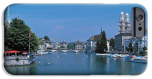 Red Umbrella iPhone Cases - Zurich Switzerland iPhone Case by Panoramic Images
