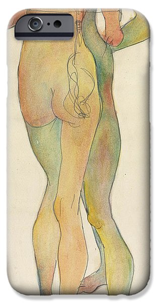 Signed Drawings iPhone Cases - Zwei Stehende Akte iPhone Case by Egon Schiele