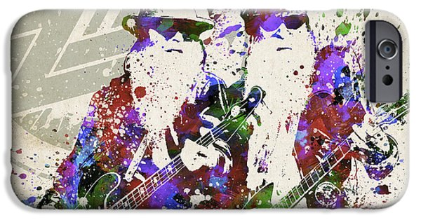 Famous Musician iPhone Cases - ZZ Top Portrait iPhone Case by Aged Pixel