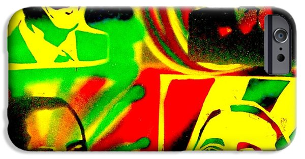 Barack Obama iPhone Cases -  4 Rasta Obama iPhone Case by Tony B Conscious