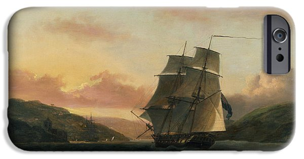 Boats In Water Paintings iPhone Cases -  A Brigantine in Full Sail in Dartmouth Harbour iPhone Case by Thomas Luny