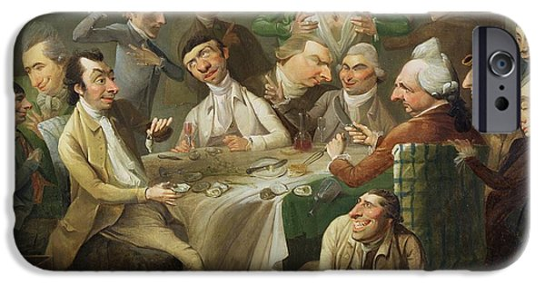 Gathering Photographs iPhone Cases -  A Caricature Group iPhone Case by John Hamilton Mortimer