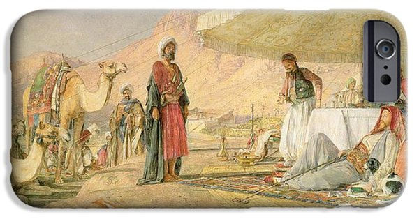Orientalists Photographs iPhone Cases -  A Frank Encampment in the Desert of Mount Sinai iPhone Case by John Frederick Lewis