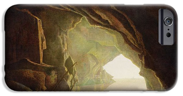 Pirate Ship iPhone Cases -  A Grotto in the Gulf of Salerno - Sunset iPhone Case by Joseph Wright of Derby