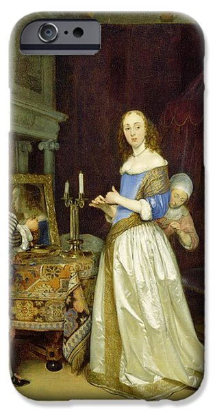 A Lady at Her Toilet iPhone Case by Gerard ter Borch