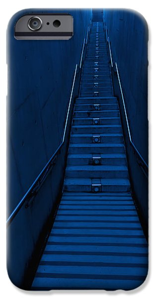 Man Looking Down iPhone Cases -  A Long Narrow Flight Of Stairs iPhone Case by Lawren Lu