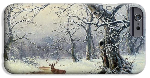 Snow Scene iPhone Cases -  A Stag in a Wooded Landscape  iPhone Case by Nils Hans Christiansen