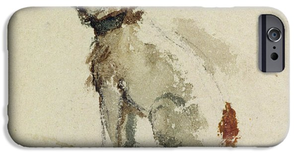 Terrier iPhone Cases -  A Terrier - sitting facing left iPhone Case by Peter de Wint