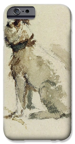 A Terrier - sitting facing left iPhone Case by Peter de Wint