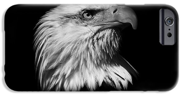 American Independance iPhone Cases -  Black and White American Eagle iPhone Case by Steve McKinzie