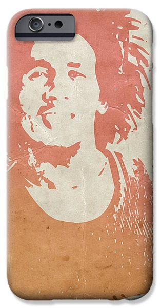 Bob Marley Portrait iPhone Cases -  Bob Marley Brown iPhone Case by Naxart Studio