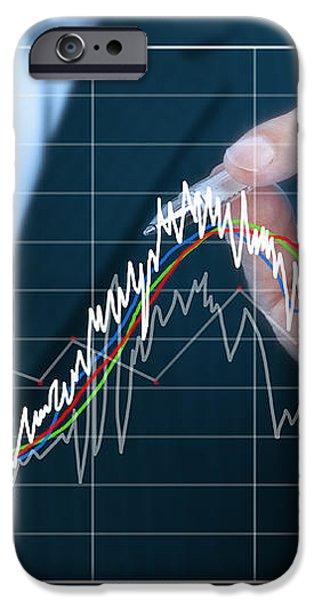 businessman writing graph of stock market  iPhone Case by Setsiri Silapasuwanchai