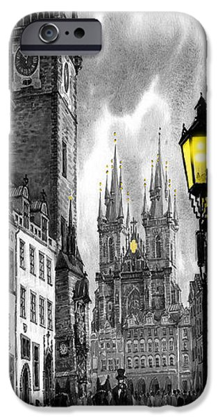 Towns Digital Art iPhone Cases -  BW Prague Old Town Squere iPhone Case by Yuriy  Shevchuk