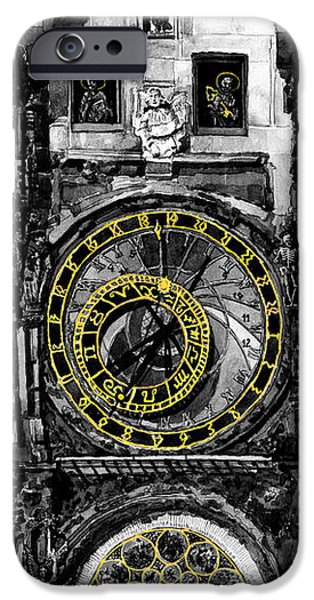 Towns Digital Art iPhone Cases -  BW Prague The Horologue at OldTownHall iPhone Case by Yuriy  Shevchuk