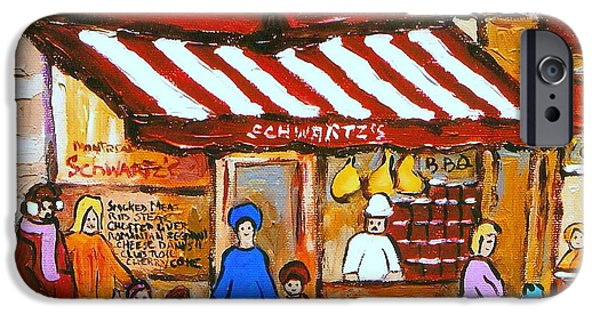 Montreal Memories. iPhone Cases -  Chez Schwartz Deli Charcuterie  Vintage Montreal Winter Street Scene iPhone Case by Carole Spandau